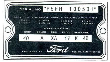 1955-1956 Thunderbird data Tag